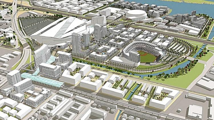 An artist's rendering of the ballpark envisioned in Oakland's Coliseum City project.