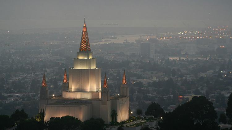 The Church of Jesus Christ of Latter-day Saints temple in Oakland, California.
