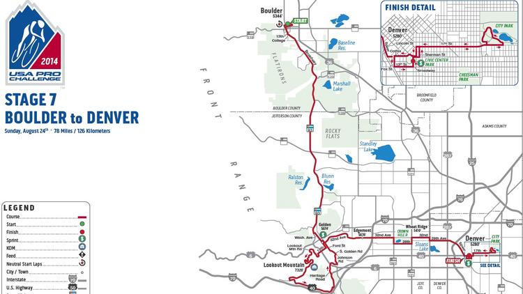 Map shows Sunday's final stage route of the USA Pro Challenge.