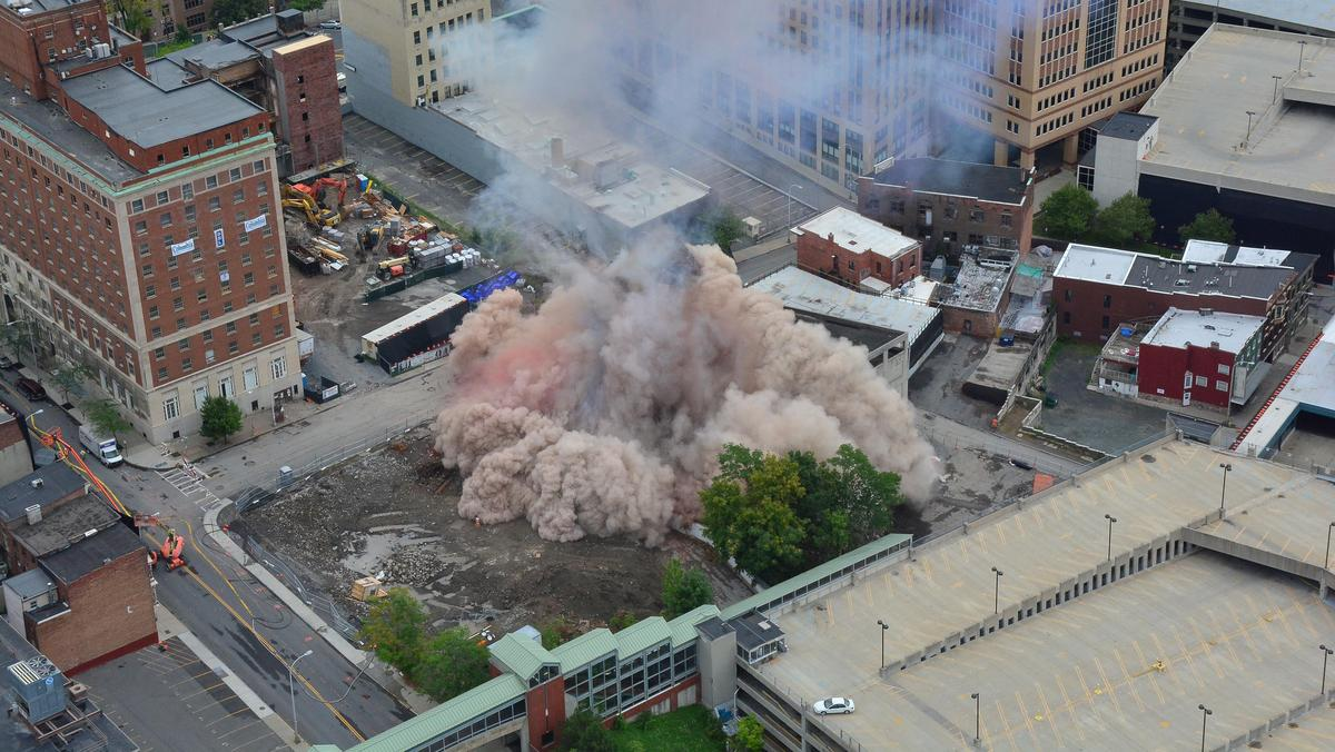 11 story downtown albany new york implodes clearing the for Design hotel upstate new york