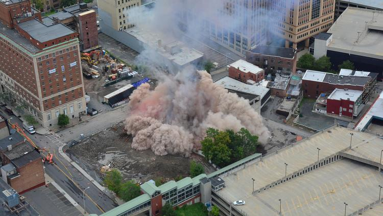 In a matter of seconds, the nearly century-old Wellington Hotel Annex collapsed to the ground, clearing the way for a $66.5 million convention center in downtown Albany, New York.