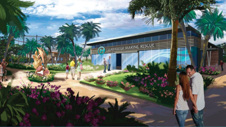 The front entry to the proposed new Clearwater Marine Aquarium planned for the site where city hall sits now.