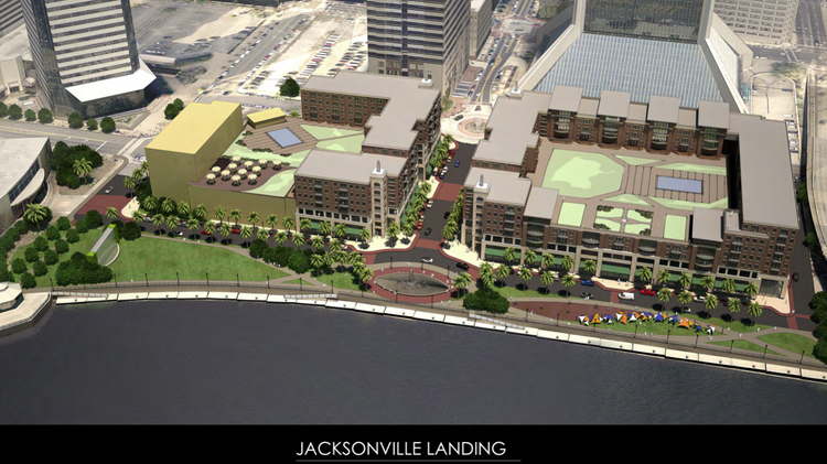 Renderings of the Landing released Saturday afternoon by Bergmann Associates feature over 950 new parking spaces, 300 apartment units, and up to 60,000 square feet of restaurant and retail space.