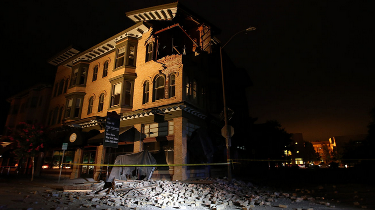 A damaged building still stands despite the 6.1 earthquake near the City of Napa.