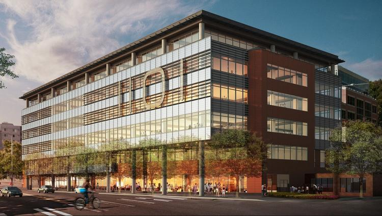Construction of Holland Partner Group's 1101 Westlake office project in Seattle's South Lake Union has begun. To capitalize on the building's location by Lake Union Park, 1101 Westlake will have a place where tenants can store kayaks.