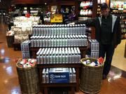 John Montague, one of the co-founders of Aspire Beverage, standing next to a display of his company's new sports drinks at Kowalski's grocery store in Eden Prairie.