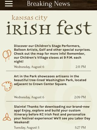 Propaganda3's KC Irish Fest app provides an event itinerary, a festival map, breaking news, social media sharing and other services. The app is available for both iOS and Android devices.
