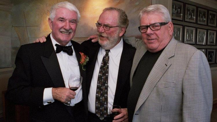 From left, former Seattle Mayor Wes Uhlman; Dave Marriott, partner at Gogerty & Marriott and former press secretary for Uhlman; and Bob Gogerty, former deputy mayor for Uhlman, at Uhlman's daughter's wedding in 2012. Gogerty died Aug. 22 at a hotel in California.