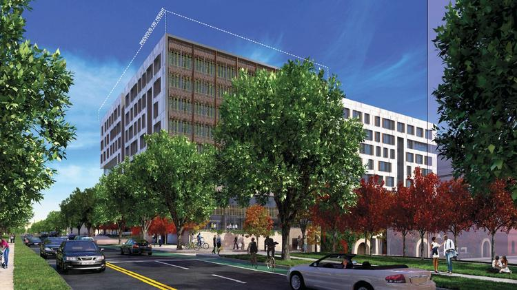A new rendering of Trammell Crow's proposed medical office building at McMillan. The developer has shaved the building by a floor.
