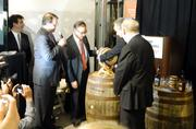 Louisville Mayor Greg Fischer was presented a commemorative barrel filled with whiskey from all eight distillery stops on the Kentucky Bourbon Trail to mark the occasion.