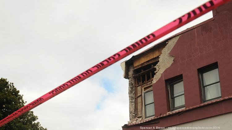 Damaged buildings in downtown Napa