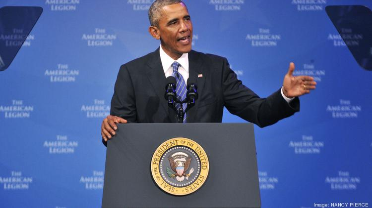President Obama addressed the American Legion national convention on Tuesday at the Charlotte Convention Center.