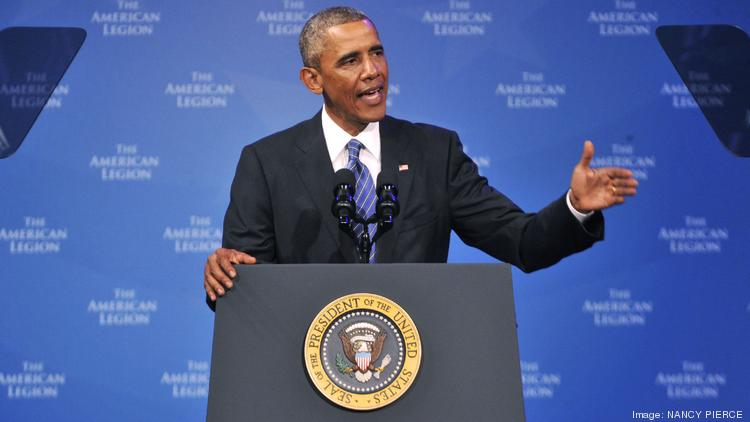 President Obama addressed the American Legion national convention today at the Charlotte Convention Center.