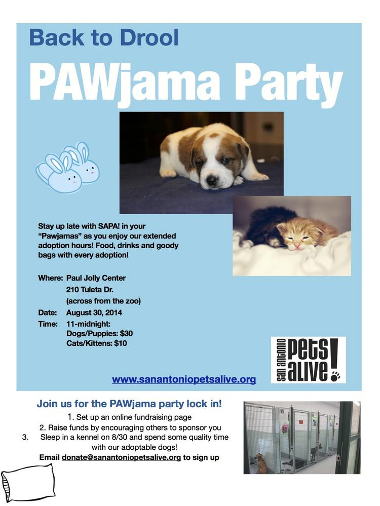 Cuddle with a lovable pet for a night or for forever by taking part in the SAPA! PAWjama Party.