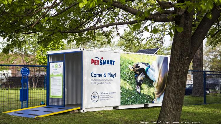 All the supplies for PetSmart's new pop-up dog park fit in a shipping container, which also serves as the park's entry and exit.