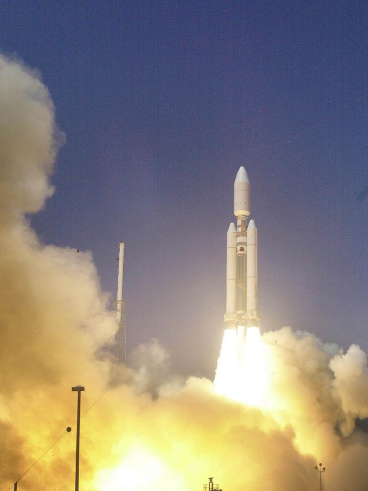 A U.S. Air Force Titan IVB space launch vehicle thundered into the Florida skies from Cape Canaveral Air Force Station on May 8, 2000.