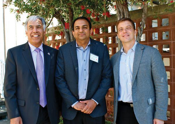 From left, San Jose State University President Mohammad Qayoumi, Lawrence Berkeley Lab Scientist Venkat Srinivasan and CalCharge Interim Executive Director Jeff Anderson are partnering to accelerate battery technology.