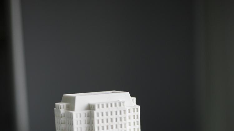 A 3-D building model that was printed by 3 Space.