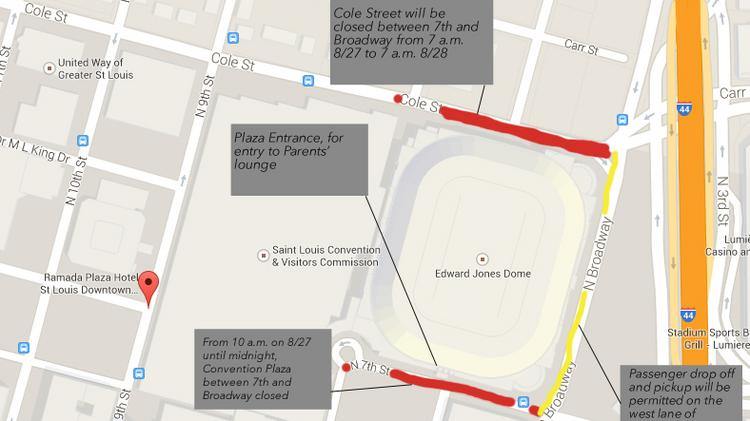 Here's a map of street closures, drop-off points for tonight's One Direction concert downtown.