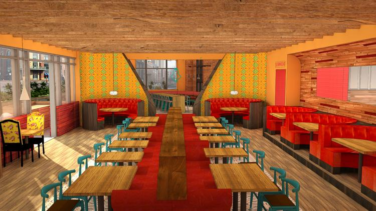 This rendering shows the large dining room, with round booths and an open window into the kitchen at Nada Columbus.