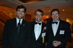 Aneesh Chopra, from left, honoree Sanju Bansal, and Jonathan Aberman at the 2013 Outstanding Directors Awards.
