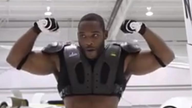 Washington Redskins wide receiver Pierre Garcon wearing Russell Athletic's shoulder pads made with carbon fiber.