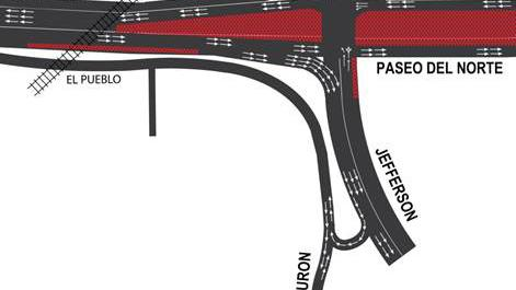 A complex realignment linking El Pueblo Road to Tiburon street has been completed as part of the Paseo Del Norte/I-25 Interchange Reconstruction Project.