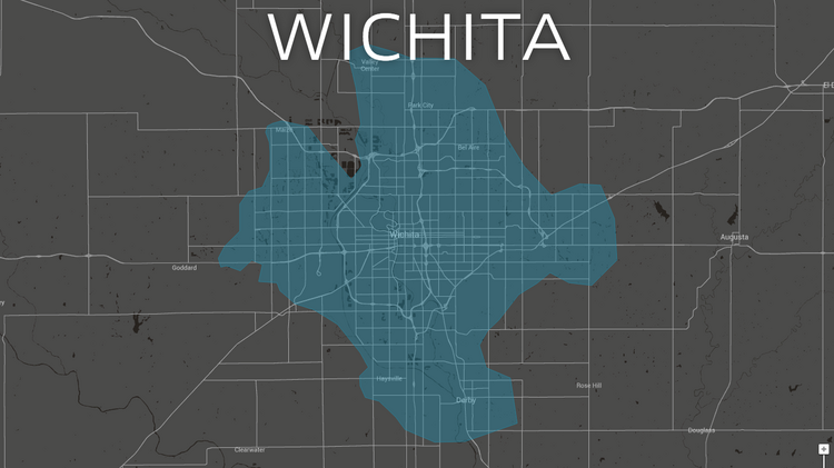 Uber's service area extends into some areas outside of Wichita, like Derby and Park City.