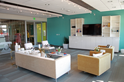 A break area at Ruby Receptionists' new offices in Beaverton. LRS Architects designed the space.