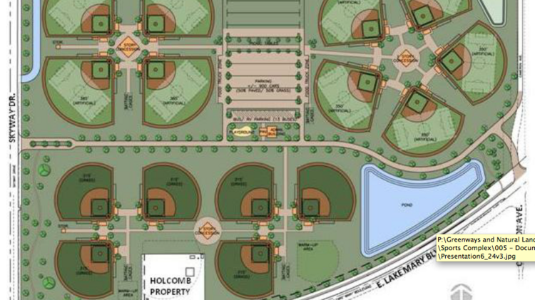 An updated map of the sports complex as of June 2014. The complex will have 15 fields.
