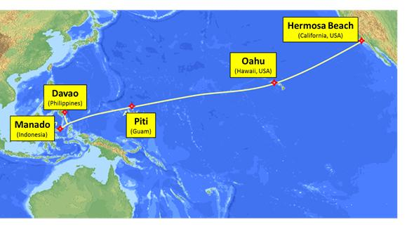 Hawaiian telcom to invest 25m in undersea cable between southeast this map shows the route of the 250 million sea us undersea cable which will gumiabroncs Choice Image