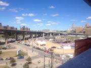 The view from inside HarborCenter overlooking Canalside, the former site of Memorial Auditorium.