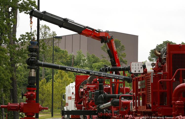 A Halliburton Co. Wellhead Connection Unit stands outside of the company's facility in Houston on Thursday. Halliburton, the world's largest provider of hydraulic-fracturing services, reported last month that first-quarter results beat analysts' estimates as the company reduced costs in North America.