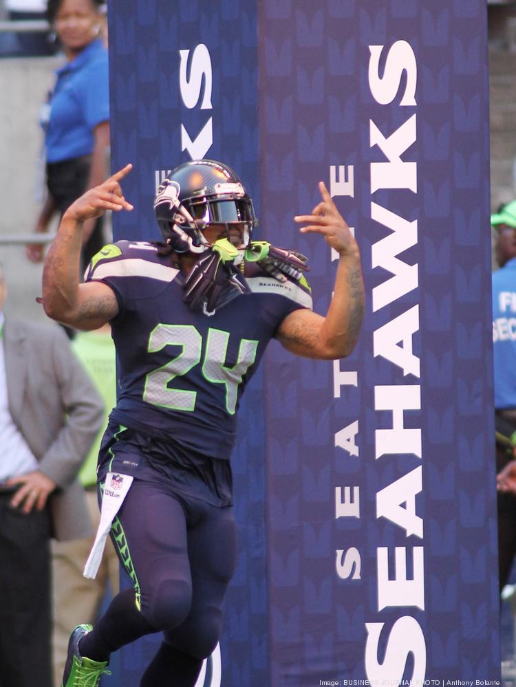 Seattle Seahawks star running back Marshawn Lynch runs onto the field before the start of the Seahawks' NFL preseason game against the Chicago Bears at Centurylink Field in Seattle last week.