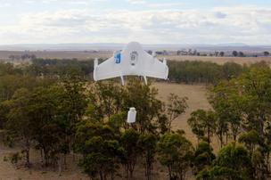 Google has been testing its Project Wing aerial drone in Australia. In test flights, two farmers received candy bars, cattle vaccines and dog treats. But the flights are really about revolutionizing commercial deliveries.