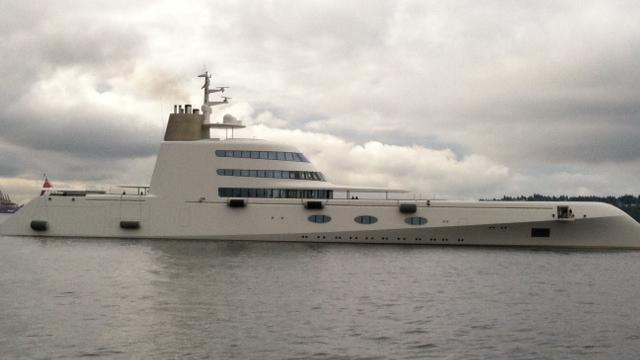 """The 394-foot mega-yacht """"A,"""" named for the first initial of its Russian billionaire owners, silently slipped into Seattle waters Thursday night."""