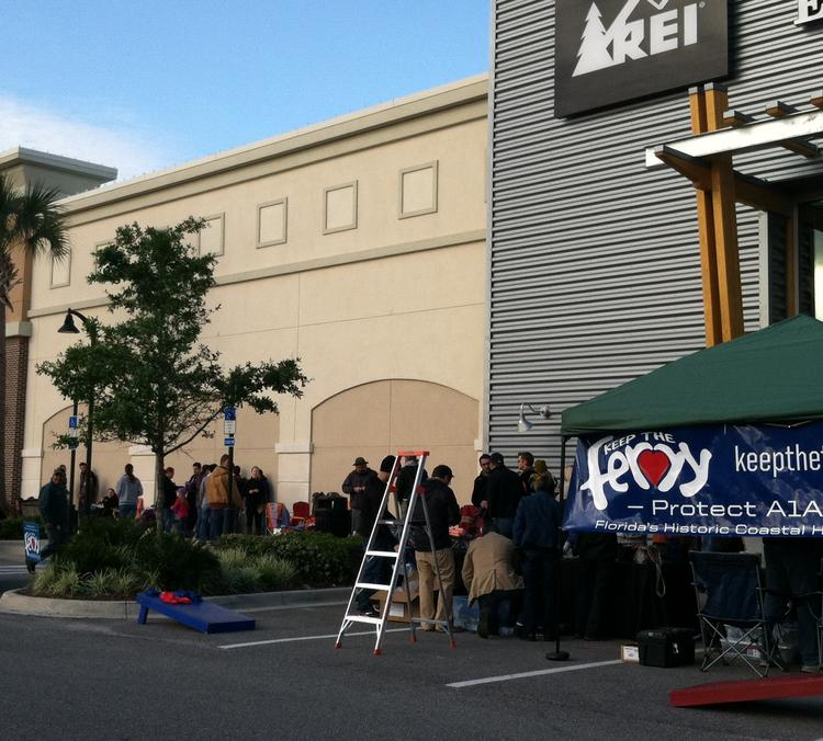 About 100 customers camped outside the Jacksonville Recreational Equipment Inc., which opens its first Florida location at 10 a.m. this morning.