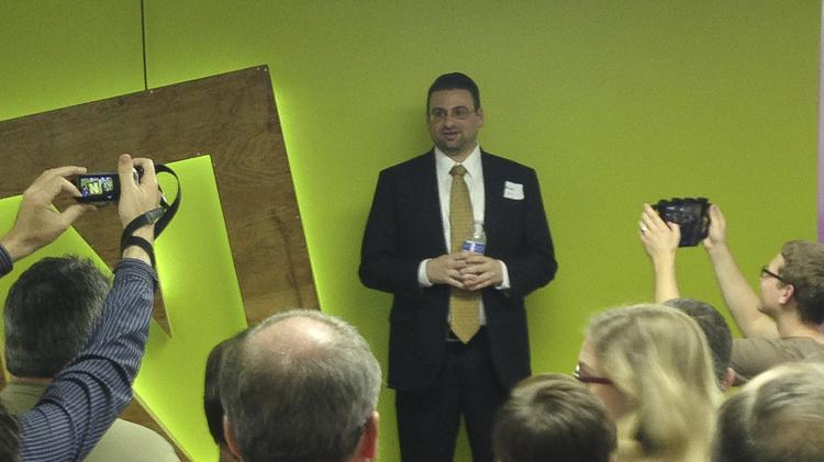 """Brian Wallace, president and founder of Nowsourcing, began the discussion on Thursday at his """"Stop Thinking Small, Louisville"""" event."""