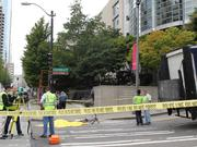 A bicyclist was struck and killed by a freight truck during rush hour traffic this morning on Second Avenue and University Street in downtown Seattle on Aug. 29. Police were investigating the scene Friday morning.