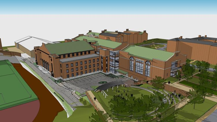 A $45 million renovation and expansion of Reynolds Gym includes the addition of the two-story Sutton Center along with a new terraced amphitheater and renovation of the existing gym.