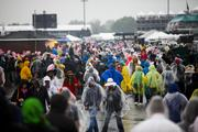 Ponchos were part of just about everyone's outfit for the day.