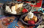 If you're still hungry after your sandwich, for dessert you can choose from cheesecake and bread pudding (or a fried Twinkie).