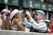 Many fans became photographers at the Derby.