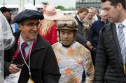 Jose Espinoza was interviewed as he walked off the track following the Derby, in which he wrote Giant Finish.
