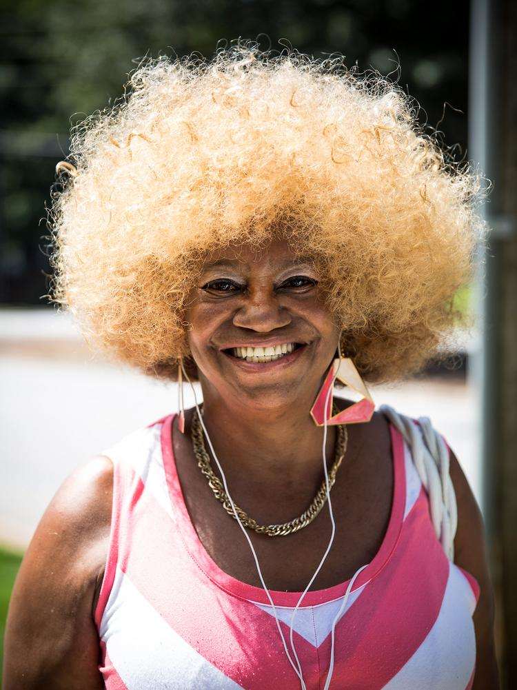 Walking down Glenwood Avenue on Sept. 2, Gloria Terry stops for a portrait. Terry describes her look as Afrocentric Nubian, which she says is a cultural ideology dedicated to the history of black people and their cultural link to Africa.
