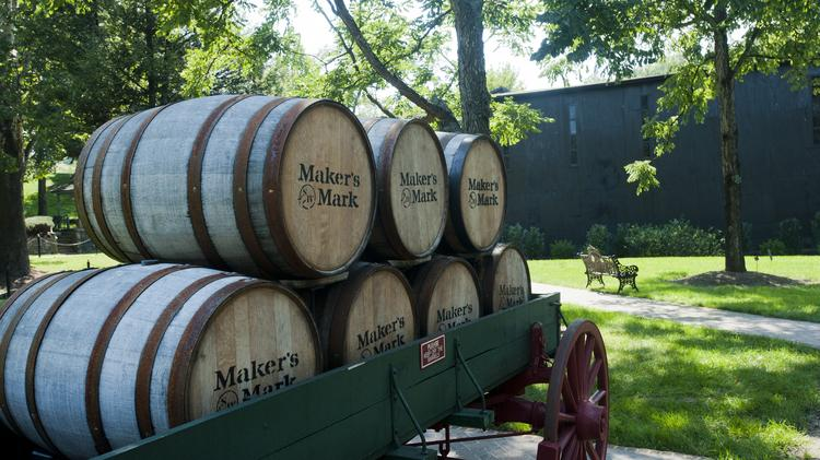 Maker's Mark barrels are stacked up on the company's campus in Loretto, Ky.