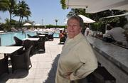 Taplin at the pool of the Sagamore, which overlooks the Atlantic Ocean.