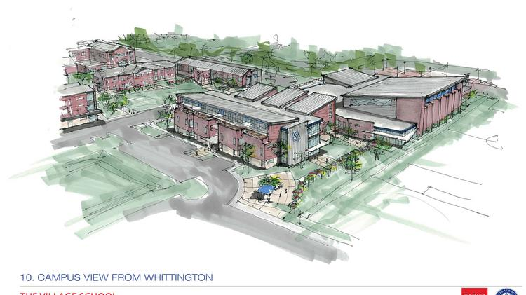 A campus view of The Village School's planned expansion.  Click through the slideshow to see more renderings.
