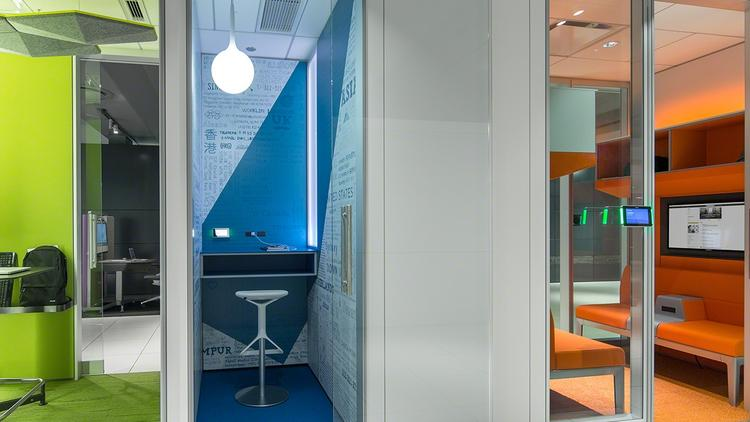 Though disappearing in public spaces, phone booths such as Steelcase's VIA Phone Booth are finding a new purpose in open offices, allowing employees to have private conversations in a setting that is more elegant than a hallway.