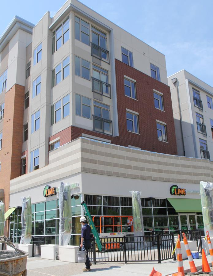 U Square @ the Loop features restaurant and retail space on the first floor.